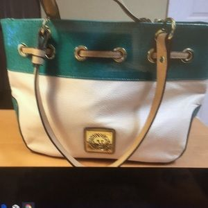 Anne Klein satchel bag turquoise cream